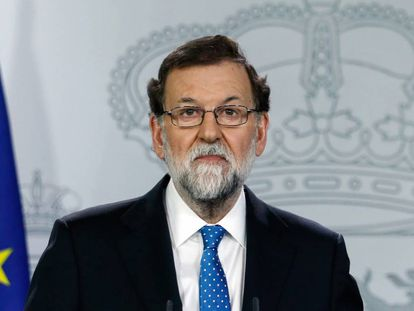 Mariano Rajoy during a press conference in La Moncloa.