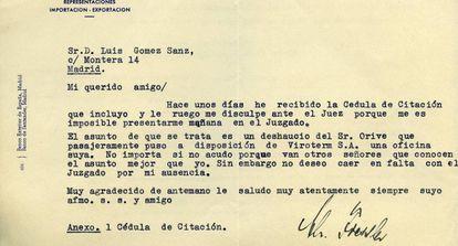 Letter from Nazi Christoph Fiessler sent to Luis Gómez Sanz.