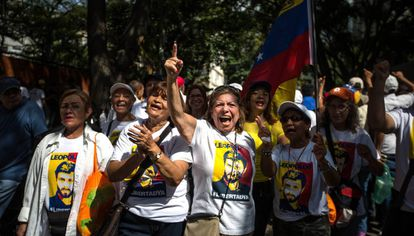 Venezuelans protesting against the government at a march in Caracas on Wednesday.