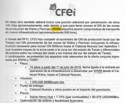 A leaked document shows the conditions of the contract between CFEI and Whitewater Midstream as approved by the board in November 2017.