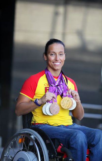 Perales with her six medals from the London Paralympics.