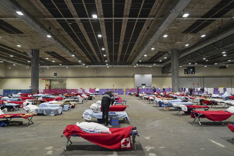 The emergency shelter at Madrid's Ifema convention center.