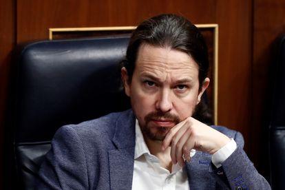 Pablo Iglesias in Spain's Congress of Deputies on Thursday.