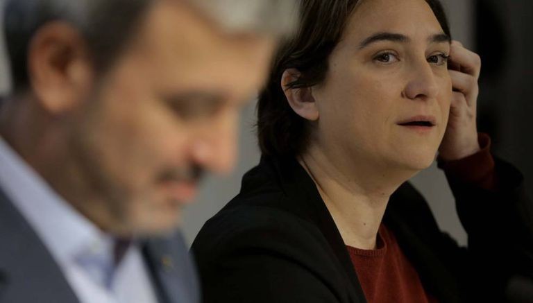 Jaume Collboni and Ada Colau, at the announcement of their leadership pact.