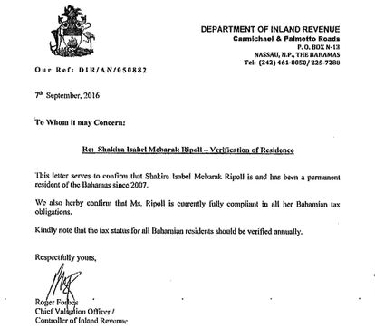 The document provided by Shakira to prove residency in the Bahamas.