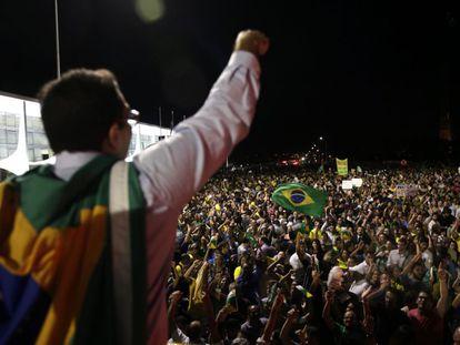 Marchers demonstratiing in Brasilia.
