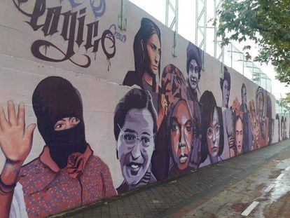 Mural celebrating 15 pioneering women in the Madrid district of Ciudad Lineal.