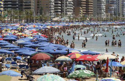 Levante beach in the Mediterranean resort of Benidorm.