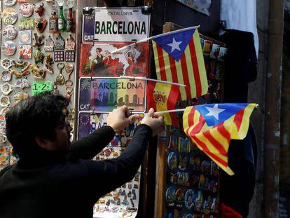 A pro-independence 'Estelada' Catalan flag in Barcelona.
