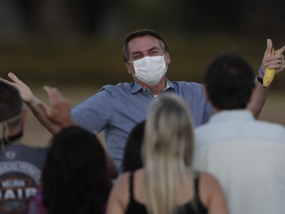 Brazilian President Jair Bolsonaro in July, when he was infected with the coronavirus.