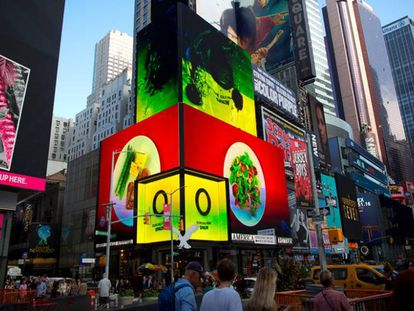 An ad promoting Spanish olive oil in Times Square.