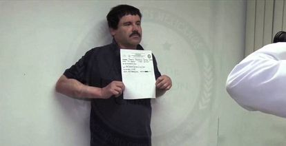 Joaquín Guzmán shortly after he was captured in January.