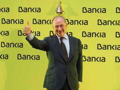 Rodrigo Rato celebrating Bankia's IPO in July 2011.