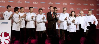 Michelin president Michael Ellis poses with the three-starred chefs at Wednesday's presentation.