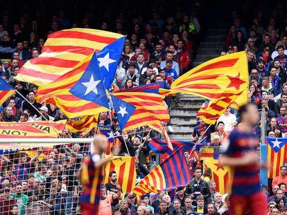 Esteladas at a Barcelona-Espanyol match.
