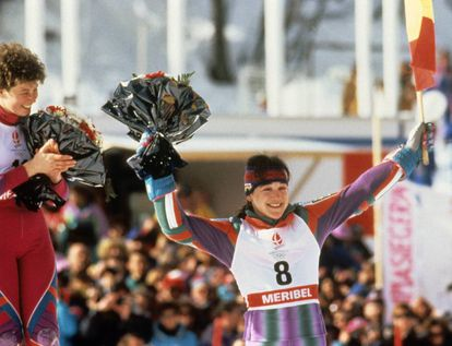 On the podium celebrating her performance in the slalom race.