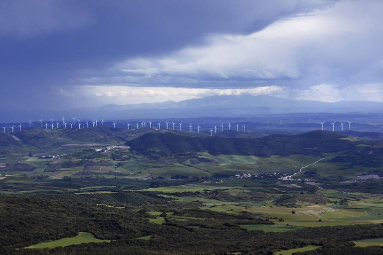 A view of the wind farms from the Perdón hills in Navarre.