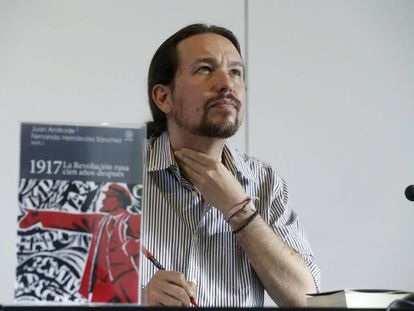 Podemos leader Pablo Iglesias at a conference on the Russian Revolution.