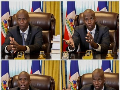 Haitian president Jovenel Moïse during his video interview with EL PAÍS.