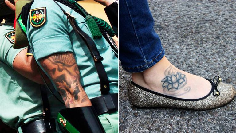 A Spanish legionnaire's tattoos, and Estela Martín's.