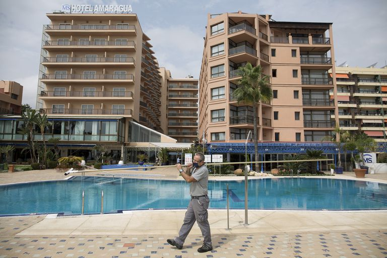 Hotel Amaragua in Torremolinos, in southern Spain, has closed to the public due to the lack of visitors this summer.
