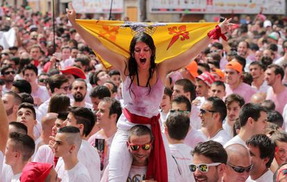 A scene from day one of the 2017 Sanfermines in Pamplona.