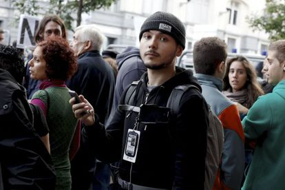 Independent journalist Tim Pool, who covered last week's protests in Madrid via livecasts and videos later posted to YouTube.