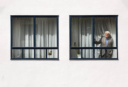 The German thinker looks out of the window of the house he has shared with his wife Ute since 1971.