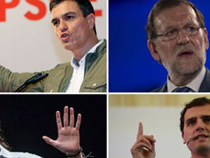 Clockwise from top left: Socialist leader Pedro Sánchez, PP chief Mariano Rajoy, Ciudadanos' Albert Rivera and Podemos's Pablo Iglesias.