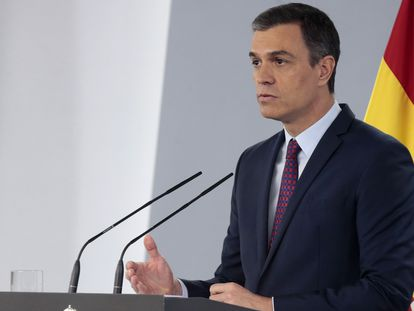 Spain's Prime Minister Pedro Sánchez during Saturday's press conference.