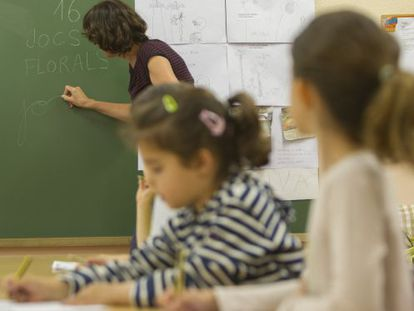 A class being conducted in Catalan at a public school in Barcelona.
