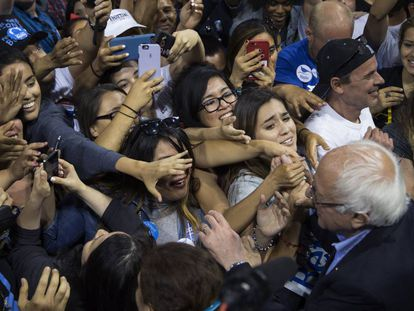 Sanders greets supporters in California on Tuesday.