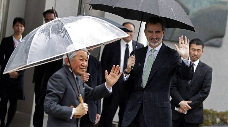Spain's King Felipe VI and Japan's Emperor Akihito during the recent state visit to Japan.