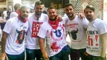 The five members of La Manada in a photo taken at the 2016 Running of the Bulls fiestas.