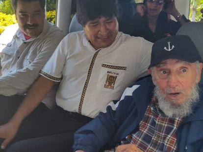 Nicolás Maduro, Evo Morales and Fidel Castro ride in a van in Havana on Thursday.