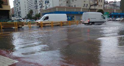 A flooded road in the city of Málaga.