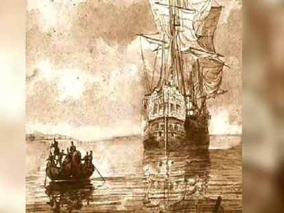 An artist's rendition of the 'Oriflama' being approached by local sailors.