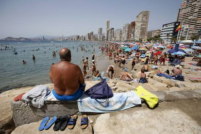 Tourists on the beach at Benidorm (Alicante).