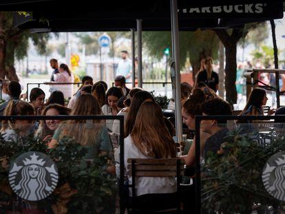 A sidewalk café in the northern city of San Sebastián on September 1.