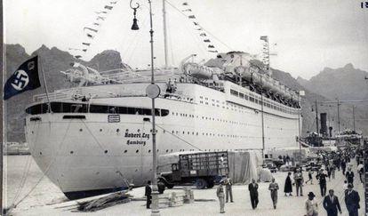 The mooring of the Robert Ley at Santa Cruz harbor in April 1939.