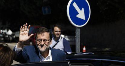 El líder del PP, Mariano Rajoy, este domingo.