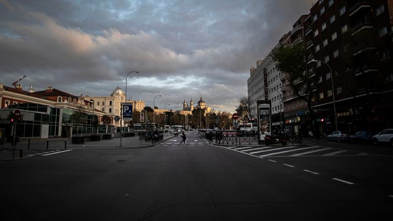 A street in Madrid on the day after the state of alarm took effect.