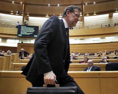 Prime Minister Mariano Rajoy after delivering his address to the Senate.