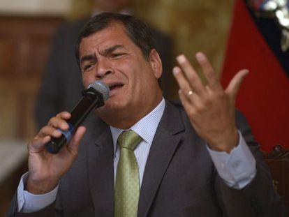 Ecuadorean President Rafael Correa speaks during a press conference.