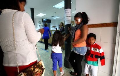 Immigrants in a health center in the Embajadores neighborhood of Madrid