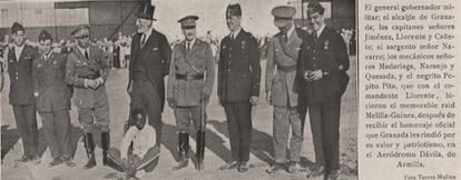News from a 1927 edition of the newspaper 'El Defensor de Granada' and the magazine 'Granada Gráfica' with a photo of Epita and the crew of the Atlántida patrol. VIRTUAL LIBRARY OF ANDALUSIA