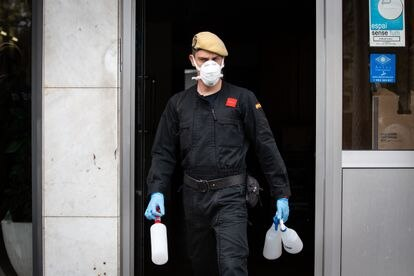 A member of the Spanish military disinfecting a senior home in Barcelona on Friday.