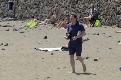British Prime Minister David Cameron on a beach in Lanzarote, where he also spent his Easter break two years ago.