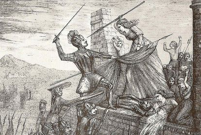 The engraving 'Heroism of María Pita' (1589), by F. Ferrer y Ros. María Pita was a heroine in the defense of A Coruña against the English Armada.