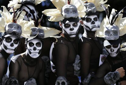 Participants at Mexico City's Day of the Dead parade on Saturday.